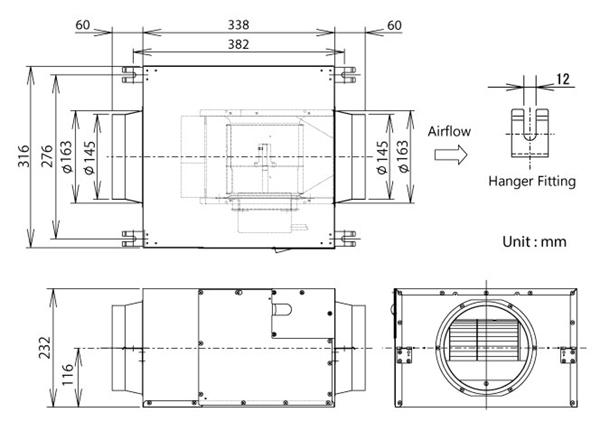 Kích thước quạt hút âm trần FV-18NS3